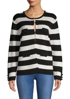 Anne Klein Stripe Sweater Jacket