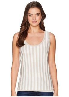 Anne Klein Striped Scoop Neck Tank Top - Striped Knit