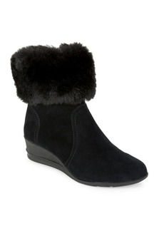 Anne Klein Conscious Suede & Faux Fur-Trim Wedge Booties