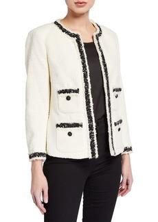 Anne Klein Tweed Contrast Fringe Jacket