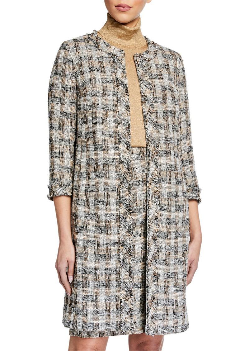 Anne Klein Tweed Fringe Topper Jacket
