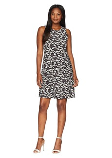Anne Klein U-Neck Flared Trapeze Dress - Flower Fall Printed Ity