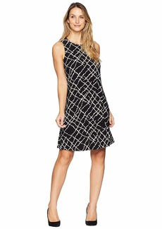 Anne Klein U-Neck Flared Trapeze Greenwich Tartan Print Dress Ity