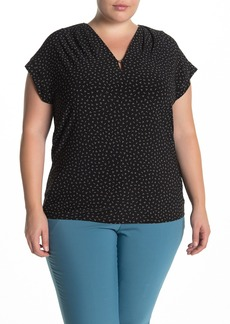Anne Klein V-Neck Printed Knit Top (Plus Size)