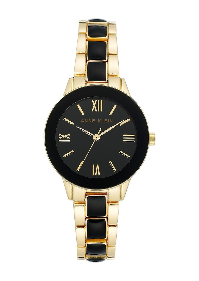 Anne Klein Women's Black Gold-Tone Resin Trend Bracelet Watch, 32mm