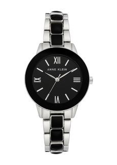 Anne Klein Women's Black Silver-Tone Resin Trend Bracelet Watch, 32mm
