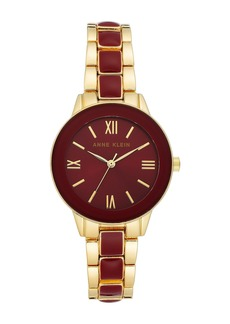 Anne Klein Women's Burgundy Gold-Tone Resin Trend Bracelet Watch, 32mm