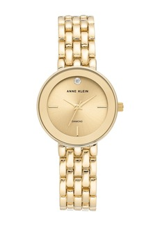 Anne Klein Women's Champagne Gold-Tone Diamond Dial Bracelet Watch, 30mm