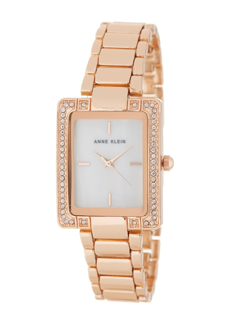 Anne Klein Women's Crystal & Mother of Pearl Bracelet Watch