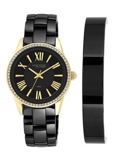 Anne Klein Women's Crystal Ceramic Black Bracelet Watch Box Set, 36mm