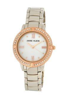 Anne Klein Women's Embellished Silver Bracelet Watch