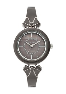 Anne Klein Women's Glitter Accented Enamel Bow Bracelet Watch, 31mm