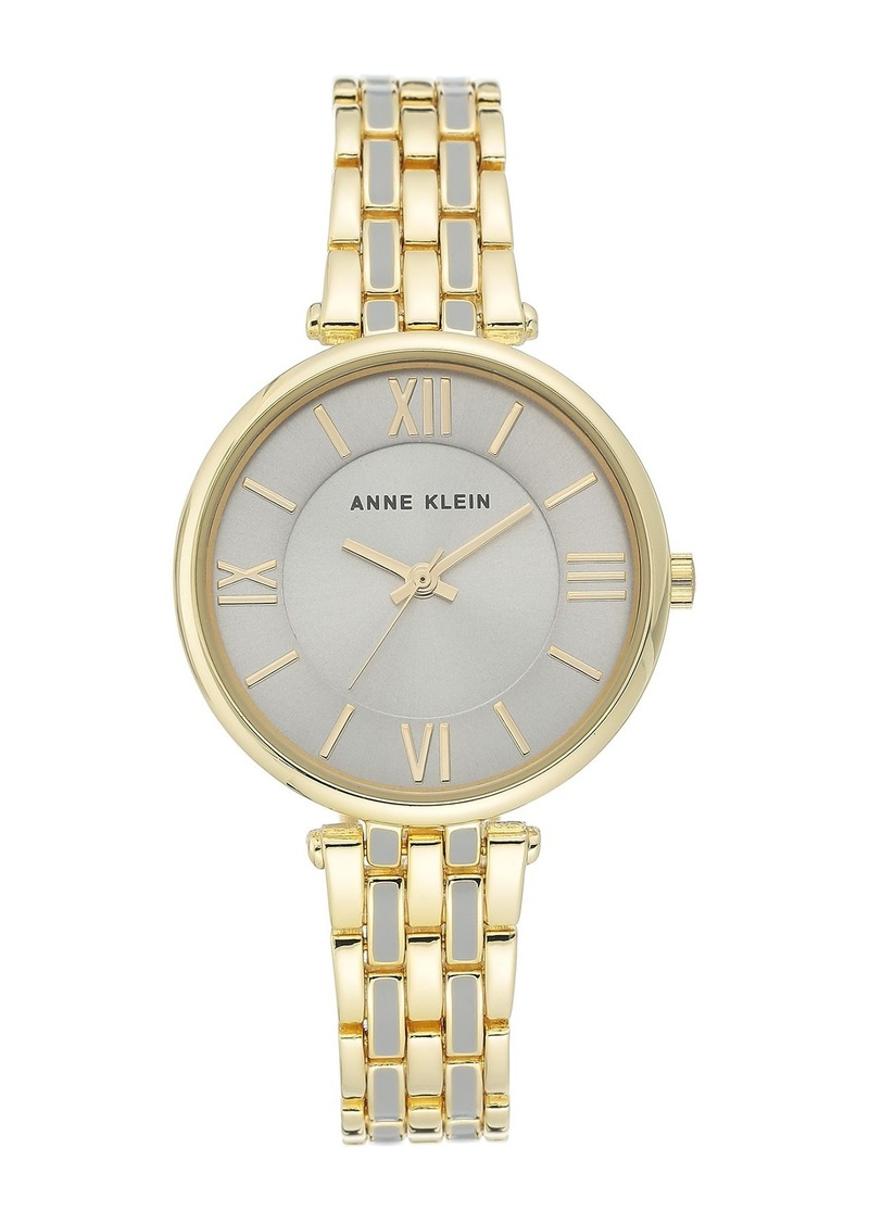 Anne Klein Women's Gold-Tone & White Enamel Trend Bracelet Watch, 34mm