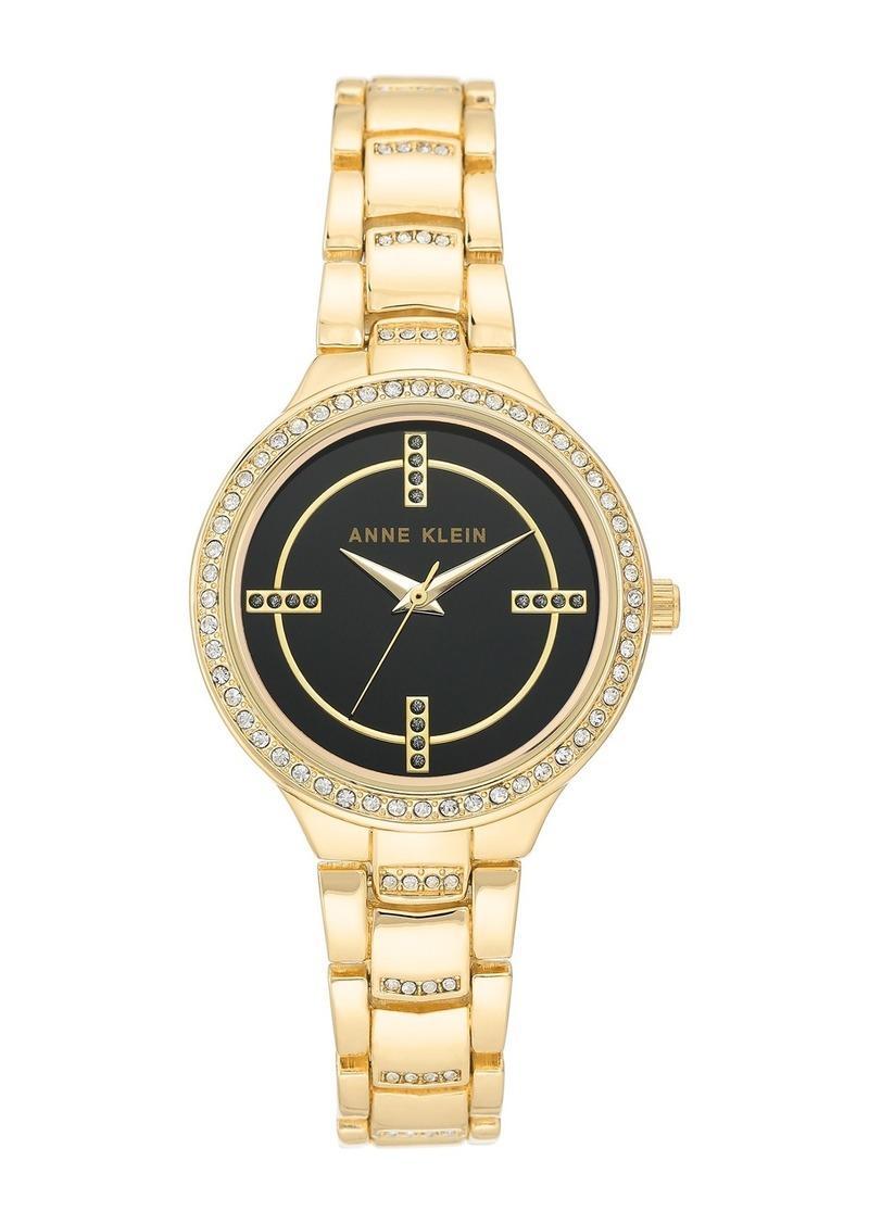 Anne Klein Women's Gold-Tone Crystal Bracelet Watch, 32.5mm