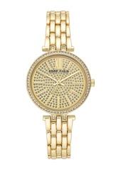 Anne Klein Women's Gold-Tone Crystal Bracelet Watch, 32mm
