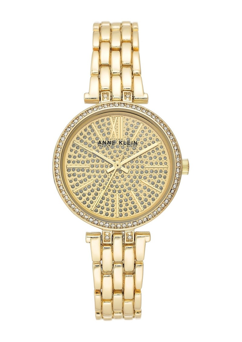 Anne Klein Women's Gold-Tone Crystal Bracelet Watch, 32mm