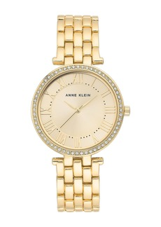 Anne Klein Women's Gold-Tone Crystal Bracelet Watch, 34mm