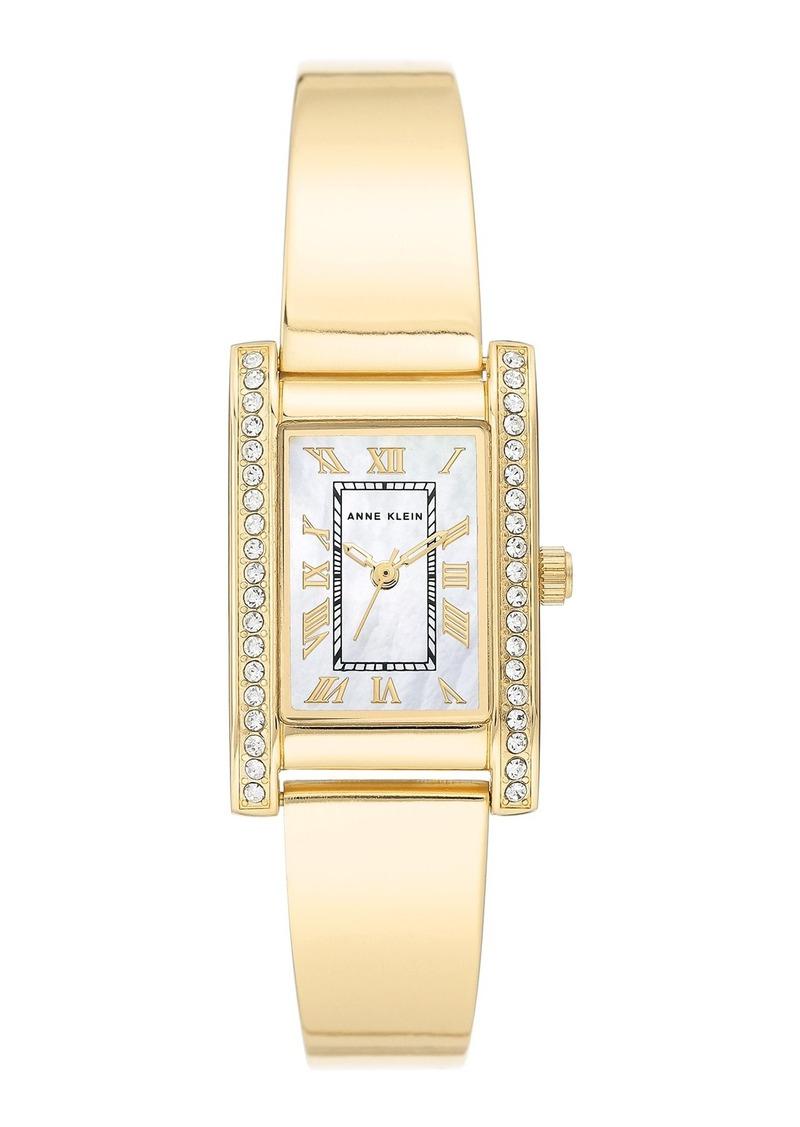Anne Klein Women's Goldtone Crystal Bangle Bracelet Watch, 20.5mm x 32mm
