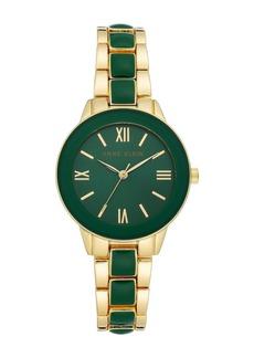 Anne Klein Women's Green Gold-Tone Resin Trend Bracelet Watch, 32mm