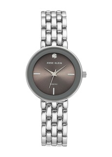 Anne Klein Women's Grey Silver-Tone Diamond Dial Bracelet Watch, 30mm