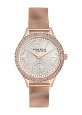 Anne Klein Women's Rose Gold Crystal Accent Mesh Bracelet Watch, 34.5mm