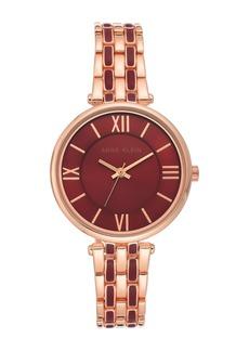 Anne Klein Women's Rose Gold-Tone & Burgundy Enamel Trend Bracelet Watch, 34mm