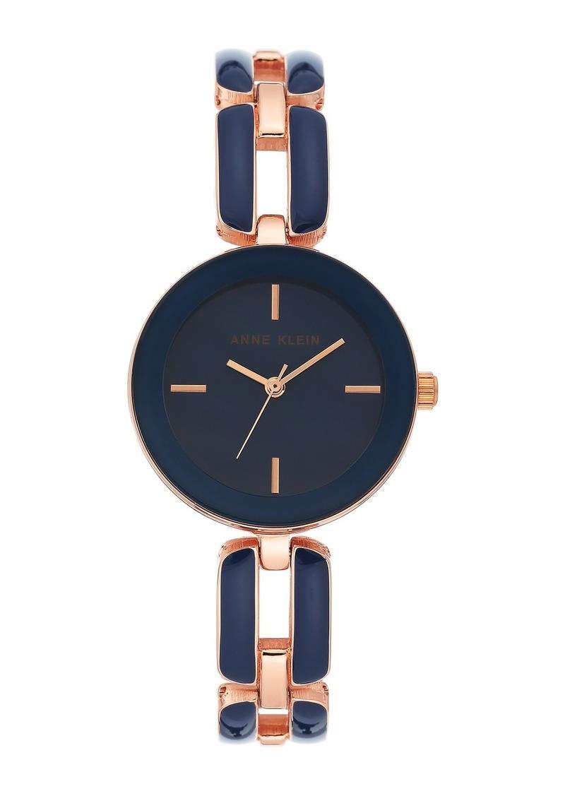Anne Klein Women's Rose Gold-Tone & Navy Enamel Trend Bracelet Watch, 30mm