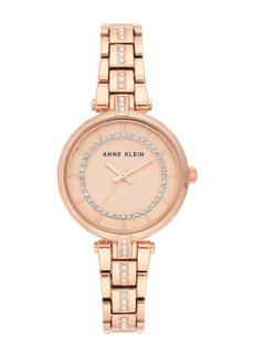 Anne Klein Women's Rose Gold-Tone Crystal Bracelet Watch, 30mm