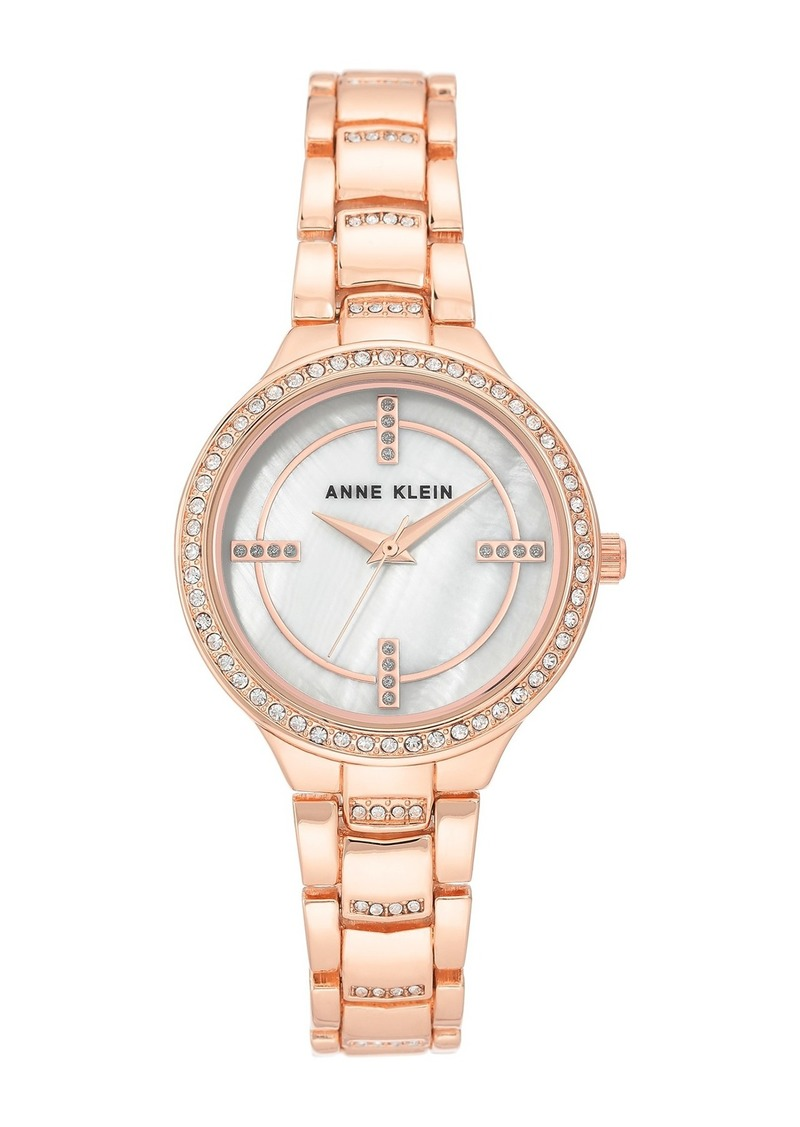 Anne Klein Women's Rose Gold-Tone Crystal Bracelet Watch, 32.5mm