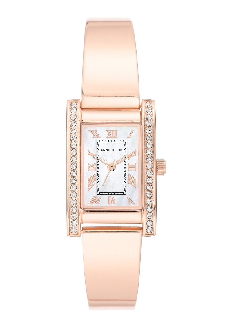 Anne Klein Women's Rose Gold-Tone Crystal Bracelet Watch, 32mm W x 20.5mm W