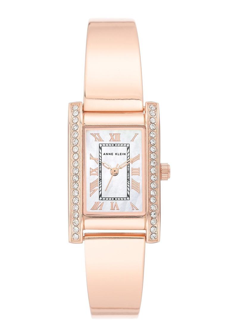 Anne Klein Women's Rose Gold-Tone Crystal Bracelet Watch, 32mm W x 20.5mm W