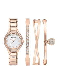 Anne Klein Women's Rose Gold-Tone Mother-Of-Pearl Braelet Watch & Bracelet 4-Piece Set