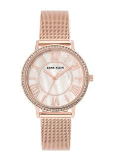 Anne Klein Women's Rose Gold-Tone Stainless Steel Mesh Bracelet Watch, 34mm