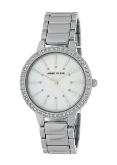Anne Klein Women's Round Case Silver-Tone Bezel Crystal Bracelet Watch, 34mm