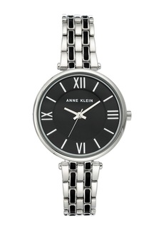 Anne Klein Women's Silver-Tone & Black Enamel Trend Bracelet Watch, 34mm