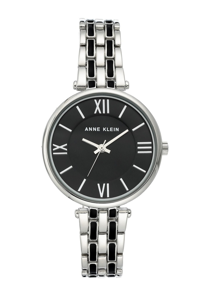 Anne Klein Women's Silver-Tone & Black Enamel Trend Bracelet Watch, 34mm