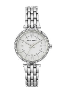 Anne Klein Women's Silver-Tone Crystal Bracelet Watch, 32mm