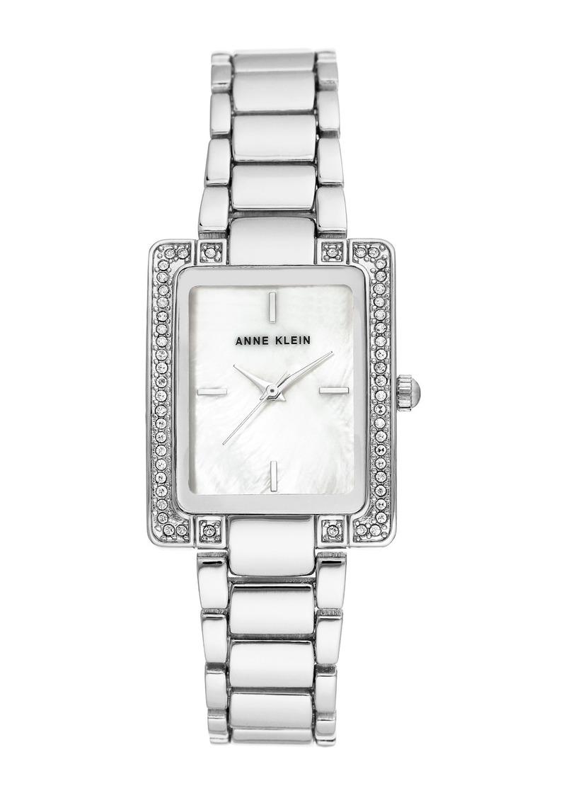 Anne Klein Women's Silver-Tone Crystal Bracelet Watch, 35mm W x 28mm W