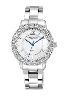 Anne Klein Women's Silver-Tone Swiss Movement Swarovski Crystal Embellished Watch, 38mm