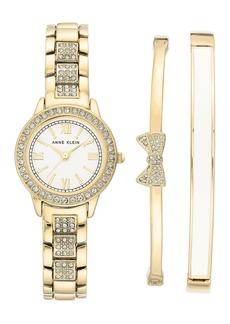 Anne Klein Women's Swarovski Crystal Bracelet Watch & Bracelet 3-Piece Set