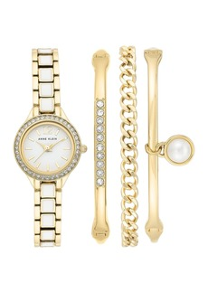 Anne Klein Women's Swarovski Crystal Bracelet Watch & Bracelet 4-Piece Set