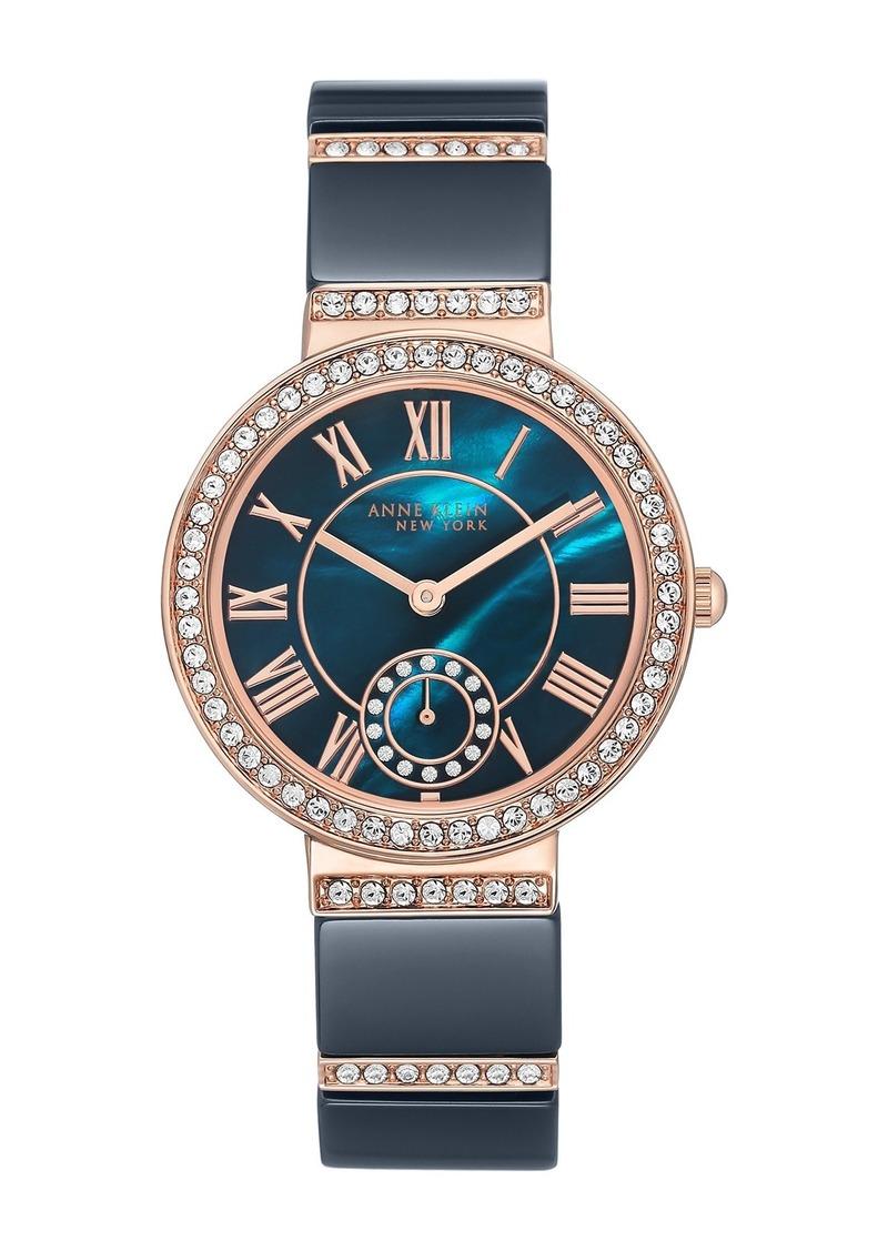 Anne Klein Women's Swarovski Crystal Ceramic Navy Bracelet Watch, 34mm