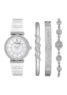 Anne Klein Women's Swarovski Crystal Embellished Quartz Bracelet Watch, 30mm - 4-Piece Box Set