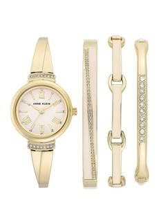 Anne Klein Women's Swarovski Crystal Gold-Tone Bracelet Watch & Bracelet 4-Piece Set