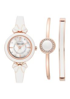 Anne Klein Women's Swarovski Crystal Mother-of-Pearl Bracelet Watch & Bracelet 3-Piece Set