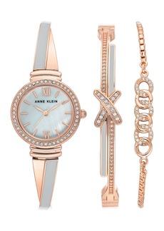Anne Klein Women's Swarovski Crystal Mother-of-Pearl Two-Tone Bracelet Watch & Bracelet 3-Piece Set