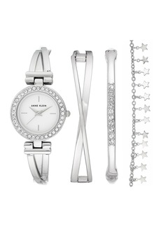 Anne Klein Women's Swarovski Crystal Silver-Tone Bracelet Watch & Bracelet 4-Piece Set