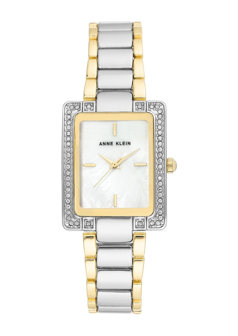 Anne Klein Women's Two-Tone Crystal Bracelet Watch, 28mm
