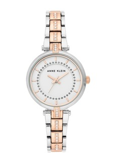 Anne Klein Women's Two-Tone Crystal Bracelet Watch, 30mm