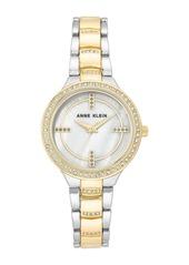 Anne Klein Women's Two-Tone Crystal Bracelet Watch, 32.5mm